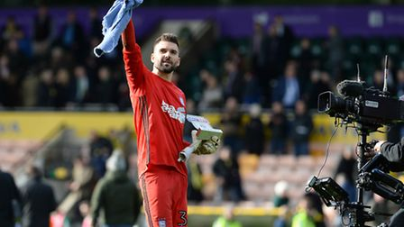 Ipswich Derby Day hero Bartosz Bialkowski is filmed saluting the fans at Carrow Road with his Sky Be