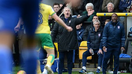 Mick McCarthy gets his point of view across from the technical area at Carrow Road. Picture: Pagepix