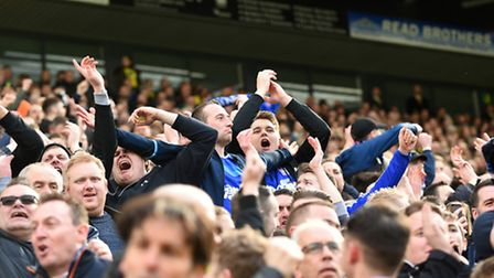 Town fans celebrate Jonas Knudsen's goal at Carrow Road. Picture: Pagepix