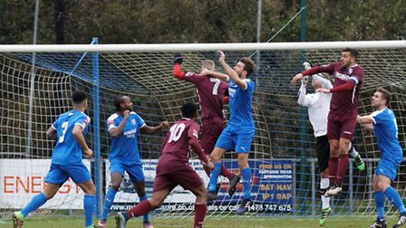 Leiston's defence under pressure from Wingate & Finchley on Saturday. Glenn Driver's side lost 2-1,