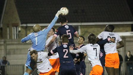 Action fron Braintree's Town FA Trophy defeat at Dulwich Hamlet. The Iron have been going well in th