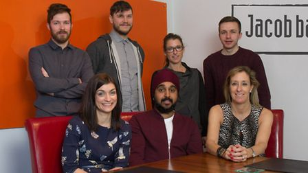 Front Row (left to right): Sarah Stephens, Financial Controller at Jacob Bailey; Kish Singh, Digital