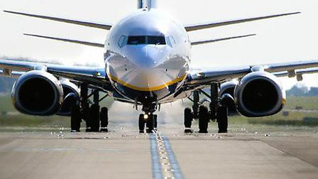 Ryanair aircraft at London Stansted Airport.