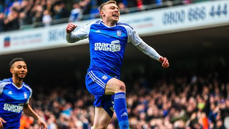 Freddie Sears celebrates after scoring the opening goal to take Ipswich 1-0 up in the Ipswich Town v