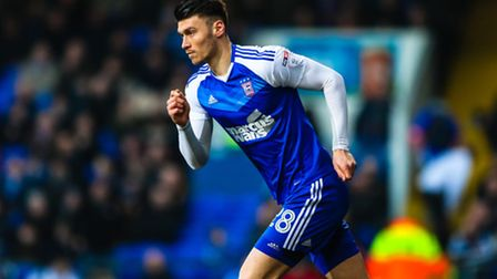 Kieffer Moore comes on as a substitute during the second half of the Ipswich Town v Leeds United (Sk