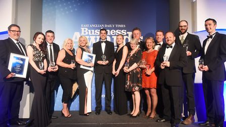 The winners gathered on stage at the end of last year's EADT Business Awards. Picture: LUCY TAYLOR