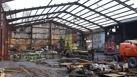 The fire damaged buildings at Cherry Tree Farm, Metfield. Picture: NICK BUTCHER