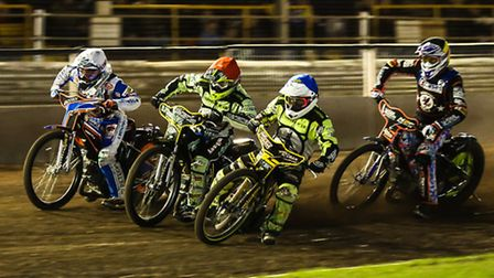 Exciting first bend action from Foxhall Stadium, where the Ipswich Witches race throughout the summe