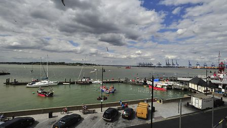 A view across Harwich Haven, looking towards the Port of Felixstowe and Shotley from Harwich.