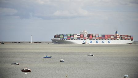A container ship in Harwich Haven, bound for the Port of Felixstowe.