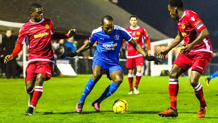Leiston's Niko Muir gets crowded out against Merstham