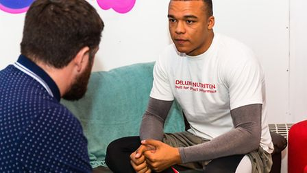 Ipswich professional boxer Fabio Wardley pictured talking to Archant sports reporter Chris Brammer