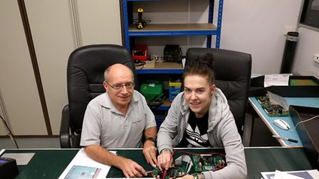 Apprenticeship engineer Lauren Matthews with one of the team at Circad Design Limited. Picture: ANTH