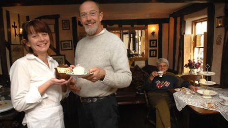 Sarah and Richard Pitkin, when they opened the Harlequin Tea Room in Stowmarket, taken in 2009 Photo