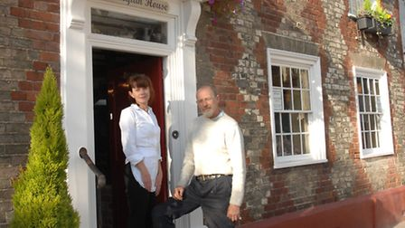 Sarah and Richard Pitkin, outside the Harlequin Tea Room in 2009. Photo: SARAH LUCY BROWN