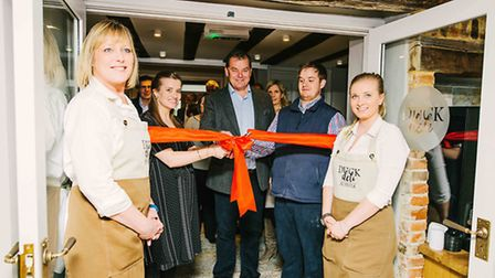 Staff at the Long Melford Swan with owners Lorna Pissarro, Andrew Macmillan and Oliver Macmillan at