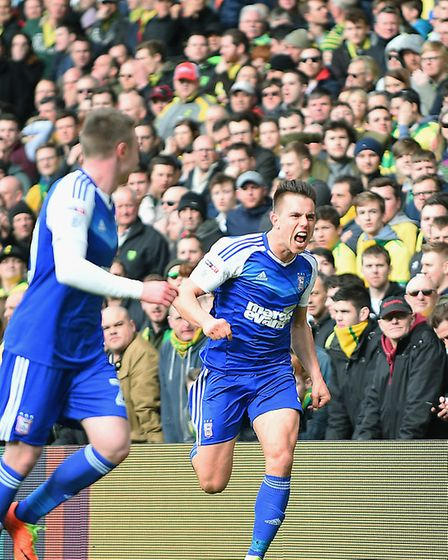 Jonas Knudsen savours the moment after giving Ipswich the lead at Norwich last Sunday. Town are unbe