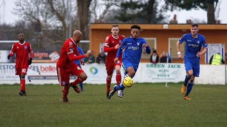 Nico Cotton, on the ball for Lowestoft against Met Police