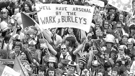 Fans on the Cornhill in 1978 after Ipswich won the FA Cup in the Wembley final against Arsenal. Pict