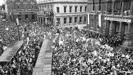 A delirious crowd packs the Cornhill in Ipswich as Town's Wembley heroes show of the FA Cup