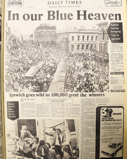 Ipswich FA Cup win 1978. EADT front page Monday May 8 1978.