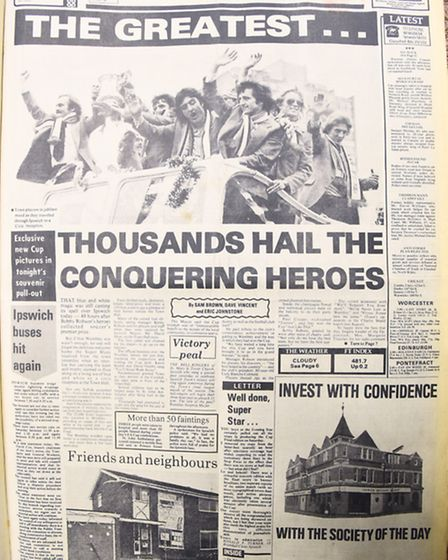 Ipswich FA Cup win 1978. Evening Star front page Monday May 8 1978.