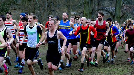The main pack at the start of the cross country race at Nowrton Park.