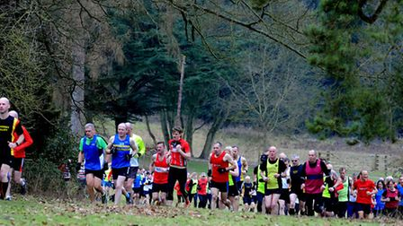 Runners battle with the gradual inclines at Nowton Park