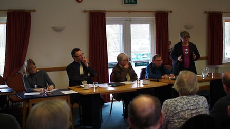 Annual general meeting of Suffolk Coast Against Retreat. Left to right: Louisa Thorp, administrator;