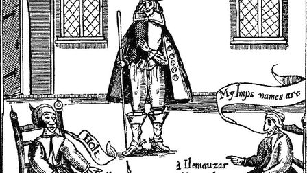 A drawing of Matthew Hopkins from his from 1647 publication The Discovery of Witches
