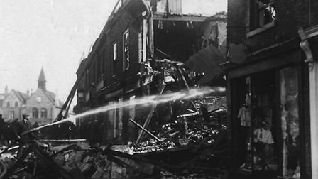 Zeppelin raid damage in the Buttermarke,t Bury St Edmunds, April 30, 1915. Photo: Courtesy of Martyn