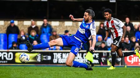 Cole Skuse can't get the contact he is looking for late in the Blues' draw with Brentford. Pictur