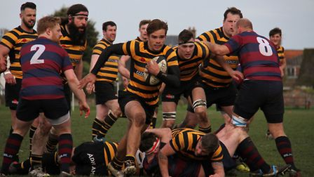 Charlie Smith about to score his first of his two tries for Southwold.
