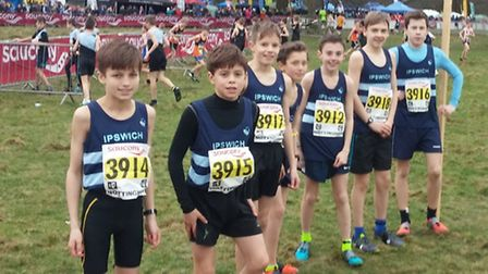 Ipswich Harriers' under-13 boys' team, who finished a fine sixth at Nottingham