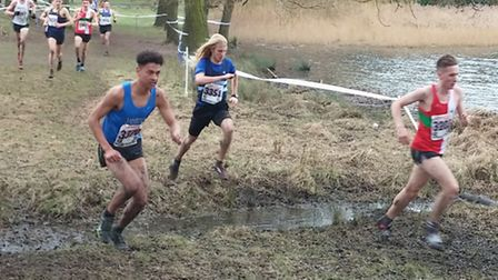 John Millar (centre), on his way to an excellent 11th position at the National Cross Country Champio