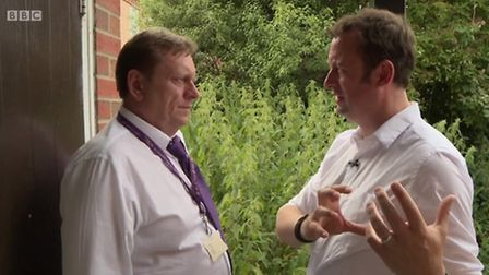 Andrew Weavers, housing officer at Mid Suffolk District Council, alongside Matt Allwright on the BBC