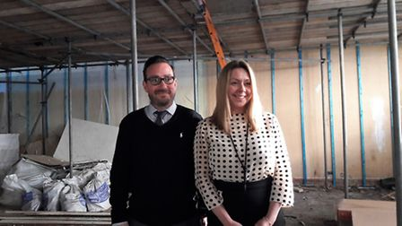 Paul Sheldrake and Jodie Woodrow, senior managers at Pure's Ipswich office, on the site of its new,