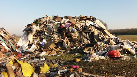 A fly-tipping incident on a farm near Chelmsford.