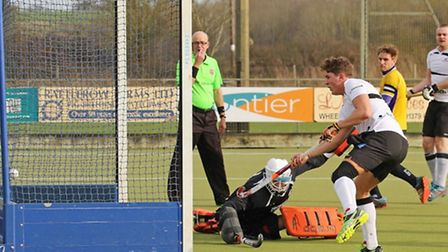 James Baker scores against Old Loughts at the weekend