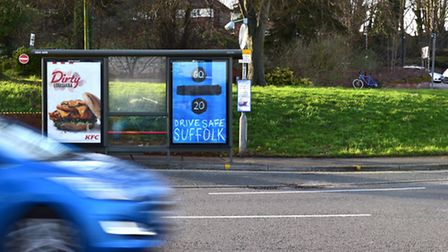 'Drive Safe Suffolk' poster by Ed Sheeran in Ranelagh Road, Ipswich. Picture: Sarah Lucy Brown