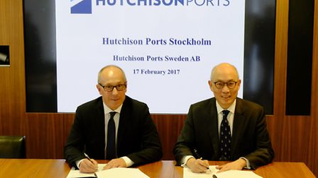 Johan Castwall, Ports of managing director, left,and Clemence Cheng, managing director Hutchison Por