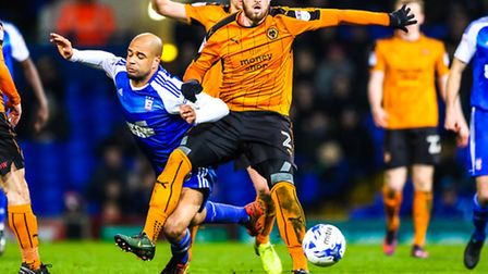 Town's David McGoldrick is fouled by Matt Doherty during the second half of last night's Championsh