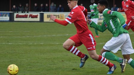 Jake Dye (left) came out with credit against Merstham after another solid performance.