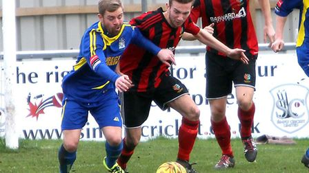 Robbie Rees on the ball during Brightlingsea Regent's 1-0 home defeat to Thurrock last weekend. The