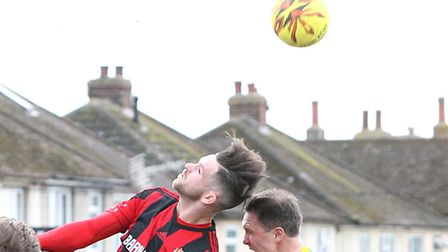 Tom Richardson, winning a header against Thurrock the previous weekend, netted Brightlingsea's third