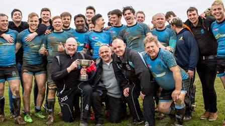 Woodbridge celebrate victory over Stowmarket in the Suffolk Chadacre Cup final in 2016