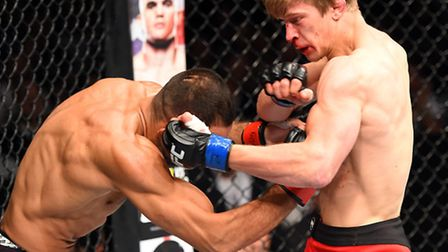 Arnold Allen, right, on his way to victory over Alan Omer on his UFC debut in Berlin