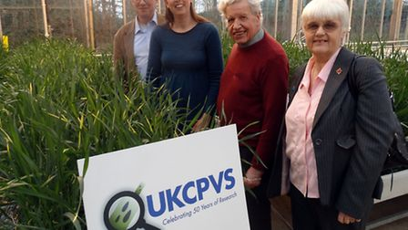 UKCPVS celebrates 50 years of research at NIAB with, from left, Prof James Brown, Chair of UKCPVS St