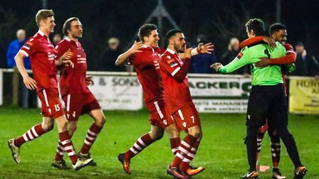 Needham celebrate after their penalty win. Goalkeeper Danny Gay and Reece Dobson, who scored the fin
