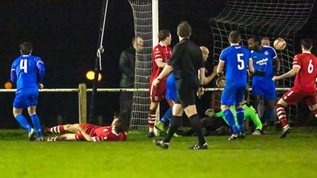 Jake Hutchings (4) makes it 4-3 to Leiston in extra-time